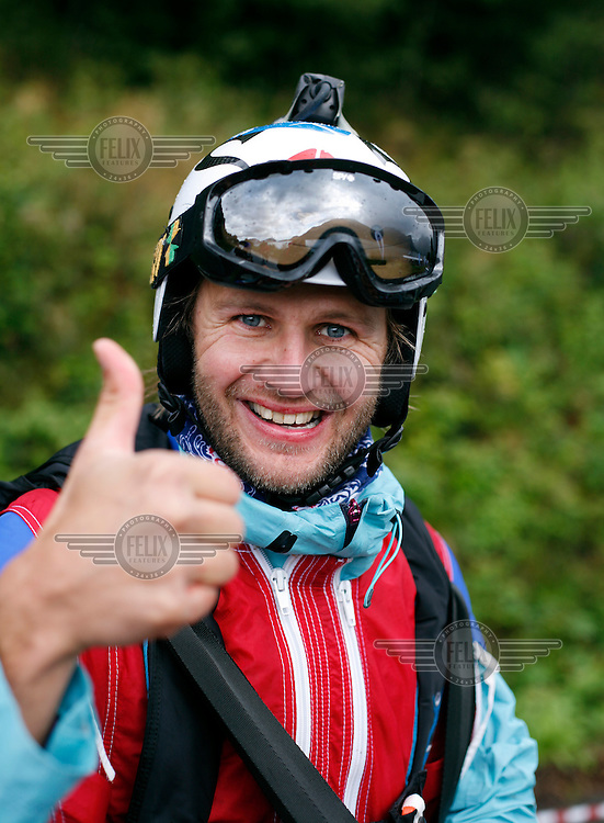 BASE jumper Tom Erik Heimen. World BASE Race held in Innfjorden, Norway, where BASE jumpers in wingsuits compete in flying down the mountain. The winner is called the World's Fastest Flying Human Being..©Fredrik Naumann/Felix Features.