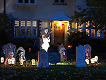 Spooky Halloween decoration. Cemetery in the front yard of a house in Toronto, Canada.