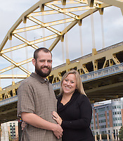 Kristen & Dan's engagement session at PNC Park and Point State Park in Pittsburgh, PA on 10-13-13.