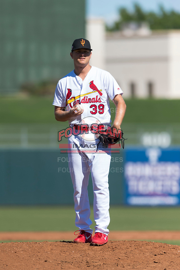 Surprise Saguaros relief pitcher Connor Jones (39), of the St. Louis Cardinals organization, during an Arizona Fall League game against the Peoria Javelinas at Surprise Stadium on October 17, 2018 in Surprise, Arizona. (Zachary Lucy/Four Seam Images)