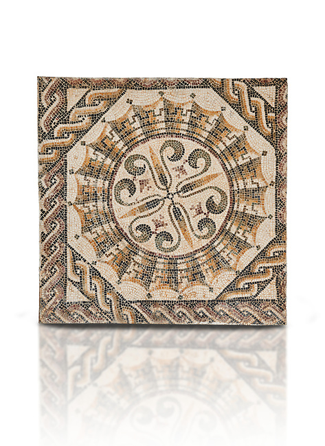 Pictures of a geometric Roman mosaic, from the ancient Roman city of Thysdrus. 3rd century AD. El Djem Archaeological Museum, El Djem, Tunisia. Against a white background