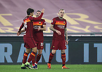 Football, Serie A: AS Roma - Cagliari calcio, Olympic stadium, Rome, December 23, 2020. <br /> Roma's Jordan Veretout (c) celebrates after scoring with his teammates Rick Karsdorp (r) and Gonzalo Villar (l)  during the Italian Serie A football match between Roma and Cagliari at Rome's Olympic stadium, on December 23, 2020.  <br /> UPDATE IMAGES PRESS/Isabella Bonotto