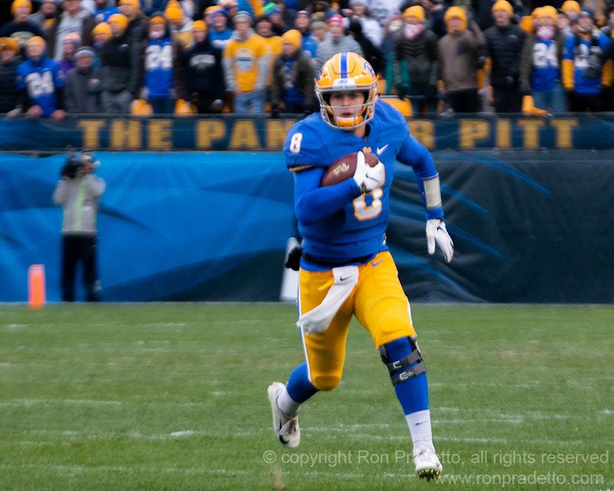 Pitt quarterback Kenny Pickett. The Pitt Panthers defeated the Virginia Tech Hokies 52-22 on November 10, 2018 at Heinz Field in Pittsburgh, Pennsylvania.