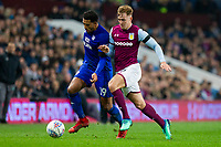 Nathaniel Mendez-Laing of Cardiff City and James Bree of Aston Villa during the Sky Bet Championship match between Aston Villa and Cardiff City at Villa Park, Birmingham, England on 10 April 2018. Photo by Mark  Hawkins / PRiME Media Images.