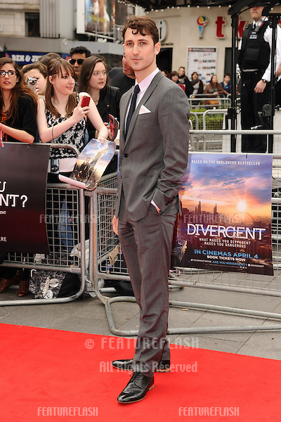 """Ben Lloyd-Hughes arrives for the """"Divergent"""" UK premiere at the Odeon Leicester Square, London. 30/03/2014 Picture by: Steve Vas / Featureflash"""