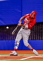 26 March 2018: St. Louis Cardinals outfielder Dexter Fowler singles to lead off an exhibition game against the Toronto Blue Jays at Olympic Stadium in Montreal, Quebec, Canada. The Cardinals defeated the Blue Jays 5-3 in the first of two MLB pre-season games in the former home of the Montreal Expos. Mandatory Credit: Ed Wolfstein Photo *** RAW (NEF) Image File Available ***