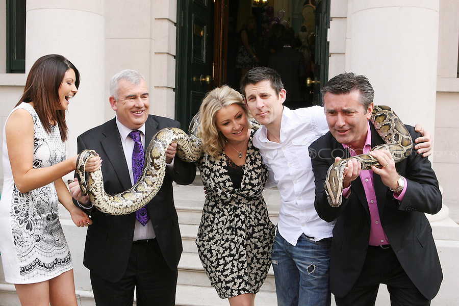 19/8/2010. TV3 SEASON LAUNCH. Presenters Caroline Tooghig, Adian Cooney, Andrea Hayes, Michael Hayes and Martin King are pictured on Kildare St Dublin for the launch of the TV3 Autumn season. Picture James Horan/Collins Photos.