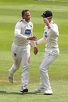 Somerset bowler, Roelof Van Der Merwe celebrates taking the wicket of Surrey's Rory Burns during Surrey CCC vs Somerset CCC, LV Insurance County Championship Group 2 Cricket at the Kia Oval on 13th July 2021