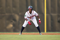 Jeremy Fernandez (8) of the Danville Braves takes his lead off of first base against the Elizabethton Twins at American Legion Post 325 Field on July 1, 2017 in Danville, Virginia.  The Twins defeated the Braves 7-4.  (Brian Westerholt/Four Seam Images)
