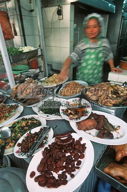 Thaïlande/Bangkok: Marché Parklong Talad - Petit restaurant Thaï dans la rue
