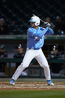 Clemente Inclan (18) of the North Carolina Tar Heels at bat against the Charlotte 49ers at BB&T BallPark on March 27, 2018 in Charlotte, North Carolina. The Tar Heels defeated the 49ers 14-2. (Brian Westerholt/Four Seam Images)