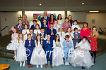 Pupils from St Olivers NS Killarney who made their First Holy Communion in the Church of the Ressurection on Saturday with Fr Niall Howard Colm O'Sullivan Principal Roisin Dullea, Angela Sheerin, Louise O'Connor, Claire O'Mahony, Kathleen Fleming, Amy O'Shea