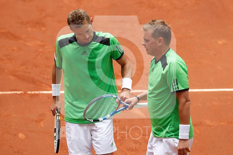 Mariusz Fyrstenberg and Marcin Matkowski during Madrid Open Tennis tournament Match. May 06, 2011. (ALTERPHOTOS/Acero)