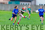 Beale Ballyduff's Niamh Stack gets her show away despite the close marking from Aoife O'Connor of Kerins O'Rahillys  in the Kerry LGFA Junior C Football Championship