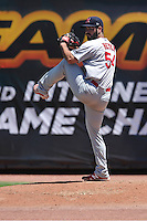 Memphis Redbirds Kurt Heyer (54) throws in the bullpen during the Pacific Coast League game against the Iowa Cubs at Principal Park on June 7, 2016 in Des Moines, Iowa.  Iowa won 6-5.  (Dennis Hubbard/Four Seam Images)