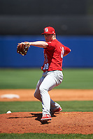 Palm Beach Cardinals relief pitcher Rowan Wick (28) delivers a pitch during a game against the Charlotte Stone Crabs on April 10, 2016 at Charlotte Sports Park in Port Charlotte, Florida.  Palm Beach defeated Charlotte 4-1.  (Mike Janes/Four Seam Images)