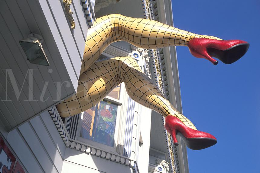 giant womans legs from second floor window Haight Ashbury San Francisco California