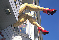 giant womans legs from second floor window Haight Ashbury San Francisco California