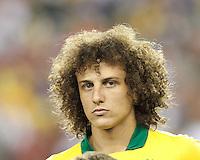 Brazil defender David Luiz (4). In an international friendly, Brazil (yellow/blue) defeated Portugal (red), 3-1, at Gillette Stadium on September 10, 2013.