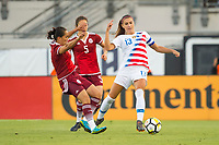 Jacksonville, FL - Thursday, April 05, 2018: Monica Ocampo, Alex Morgan during a friendly match between USA and Mexico at EverBank Stadium.  USA defeated Mexico 4-1.