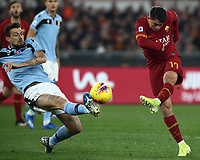 Football, Serie A: AS Roma - S.S. Lazio, Olympic stadium, Rome, January 26, 2020. <br /> Roma's Cengiz Under (r) in action with Lazio's Francesco Acerbi (l) during the Italian Serie A football match between Roma and Lazio at Olympic stadium in Rome, on January,  26, 2020. <br /> UPDATE IMAGES PRESS/Isabella Bonotto