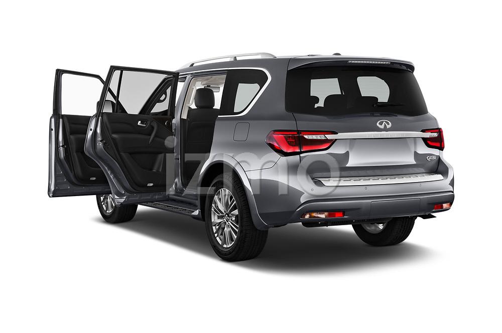 Car images close up view of a 2020 Infiniti QX80 Luxe 5 Door SUV doors