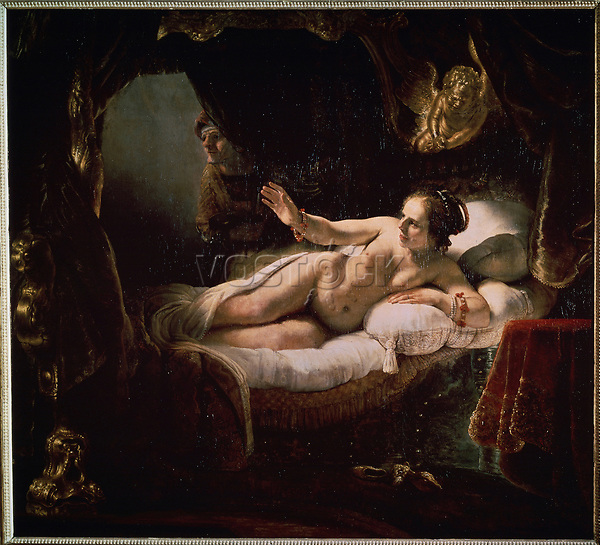 Danae<br /> Artist:Rembrandt van Rhijn(1606-1669)<br /> Museum:State Hermitage, St. Petersburg<br /> Method:Oil on canvas<br /> Created:1636<br /> School:Holland<br /> Category:Mythology, Allegory and Literature<br /> Trend in art:Baroque