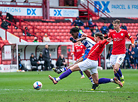 2nd April 2021, Oakwell Stadium, Barnsley, Yorkshire, England; English Football League Championship Football, Barnsley FC versus Reading; Ovie Ejaria of Reading shoots to score and makes it 1-0 in min 34