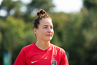 CARY, NC - SEPTEMBER 12: Angharad James #34 of the NC Courage exits the field after warming up before a game between Portland Thorns FC and North Carolina Courage at WakeMed Soccer Park on September 12, 2021 in Cary, North Carolina.