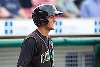 Kane County Cougars outfielder Albert Almora #2 smiles during a game against the Cedar Rapids Kernels at Veterans Memorial Stadium on June 8, 2013 in Cedar Rapids, Iowa. (Brace Hemmelgarn/Four Seam Images)