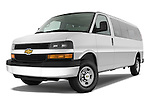 Low aggressive front three quarter view of a 2008 chevrolet express 3500 passenger van.
