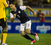Kingston, Jamaica - Friday, September 7, 2012: The USMNT lost to Jamaica 2-1 during World Cup Qualifying at National Stadium. Clint Dempsey celebrates his goal.