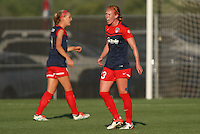 Piscataway, NJ - Saturday July 23, 2016: Tori Huster, Megan Oyster during a regular season National Women's Soccer League (NWSL) match between Sky Blue FC and the Washington Spirit at Yurcak Field.