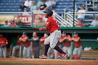 State College Spikes Martin Figueroa (22) bats during a NY-Penn League game against the Batavia Muckdogs on July 2, 2019 at Dwyer Stadium in Batavia, New York.  Batavia defeated State College 1-0.  (Mike Janes/Four Seam Images)
