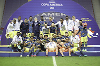 9th July 2021, Brasilia, Federal District, Brazil:  Colombian players celebrate winning 3rd place in the Copa America after the match against Peru, held at Mane Garrincha stadium, in Brasilia, Federal District