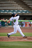 Lynchburg Hillcats second baseman Dillon Persinger (38) hits a home run during the first game of a doubleheader against the Potomac Nationals on June 9, 2018 at Calvin Falwell Field in Lynchburg, Virginia.  Lynchburg defeated Potomac 5-3.  (Mike Janes/Four Seam Images)