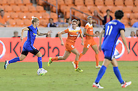 Houston, TX - Sunday Sept. 25, 2016: Jessica Fishlock, Morgan Brian during a regular season National Women's Soccer League (NWSL) match between the Houston Dash and the Seattle Reign FC at BBVA Compass Stadium.