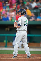 Cedar Rapids Kernels outfielder Max Murphy (13) at bat during a game against the South Bend Cubs on June 5, 2015 at Four Winds Field in South Bend, Indiana.  South Bend defeated Cedar Rapids 9-4.  (Mike Janes/Four Seam Images)