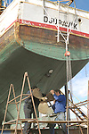 Boat repair, Fishing Boat, Skagastrond, Iceland