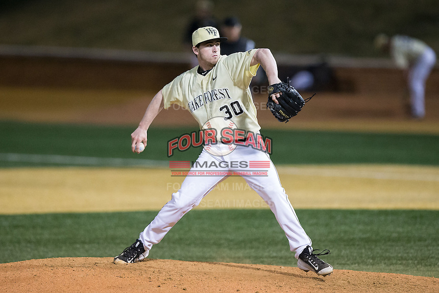 Wake Forest Demon Deacons relief pitcher Connor Johnstone (30) in action against the UConn Huskies at Wake Forest Baseball Park on March 17, 2015 in Winston-Salem, North Carolina.  The Demon Deacons defeated the Huskies 6-2.  (Brian Westerholt/Four Seam Images)