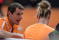 Bratislava, Slovenia, April 23, 2017,  FedCup: Slovakia-Netherlands,seccond rubber sunday,  Dutch Captain Paul Haarhuis inspiring Richel Hogenkamp.<br /> Photo: Tennisimages/Henk Koster