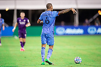 LAKE BUENA VISTA, FL - JULY 14: Alexander Callens #6 of NYCFC dribbles the ball during a game between Orlando City SC and New York City FC at Wide World of Sports on July 14, 2020 in Lake Buena Vista, Florida.