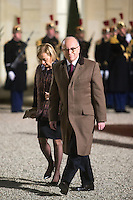 French Prime Minister Bernard Cazeneuve and his wife, Veronique, arrive to attend a dinner in honour of Senegal's President Macky Sall at the Elysee Palace in Paris, France December 20, 2016. # FRANCOIS HOLLANDE RECOIT MACKY SALL POUR LE DINER A L'ELYSEE