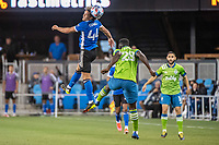 SAN JOSE, CA - MAY 12: Cade Cowell #44 of the San Jose Earthquakes heads the ball during a game between San Jose Earthquakes and Seattle Sounders FC at PayPal Park on May 12, 2021 in San Jose, California.