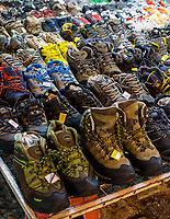 Shoes for Sale at Nighttime Flea Market, Ipoh, Malaysia.