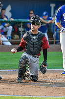 Idaho Falls Chukars catcher Nick Dini (51) takes a new baseball while on defense against the Ogden Raptors in Pioneer League action at Lindquist Field on September 3, 2016 in Ogden, Utah. The Chukars defeated the Raptors 3-0. (Stephen Smith/Four Seam Images)