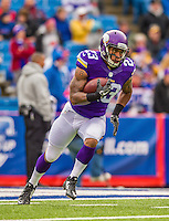 19 October 2014: Minnesota Vikings running back Joe Banyard warms up prior to facing the Buffalo Bills at Ralph Wilson Stadium in Orchard Park, NY. The Bills defeated the Vikings 17-16 in a dramatic, last minute, comeback touchdown drive. Mandatory Credit: Ed Wolfstein Photo *** RAW (NEF) Image File Available ***