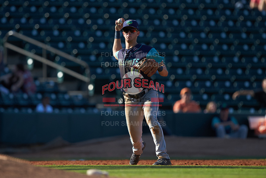 Lynchburg Hillcats third baseman Nolan Jones (10) makes a throw to first base against the Winston-Salem Rayados at BB&T Ballpark on June 23, 2019 in Winston-Salem, North Carolina. The Hillcats defeated the Rayados 12-9 in 11 innings. (Brian Westerholt/Four Seam Images)