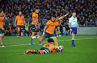Australia's Noah Lolesio kicks a penalty during the Bledisloe Cup rugby match between the New Zealand All Blacks and Australia Wallabies at Eden Park in Auckland, New Zealand on Saturday, 7 August 2021. Photo: Dave Lintott / lintottphoto.co.nz