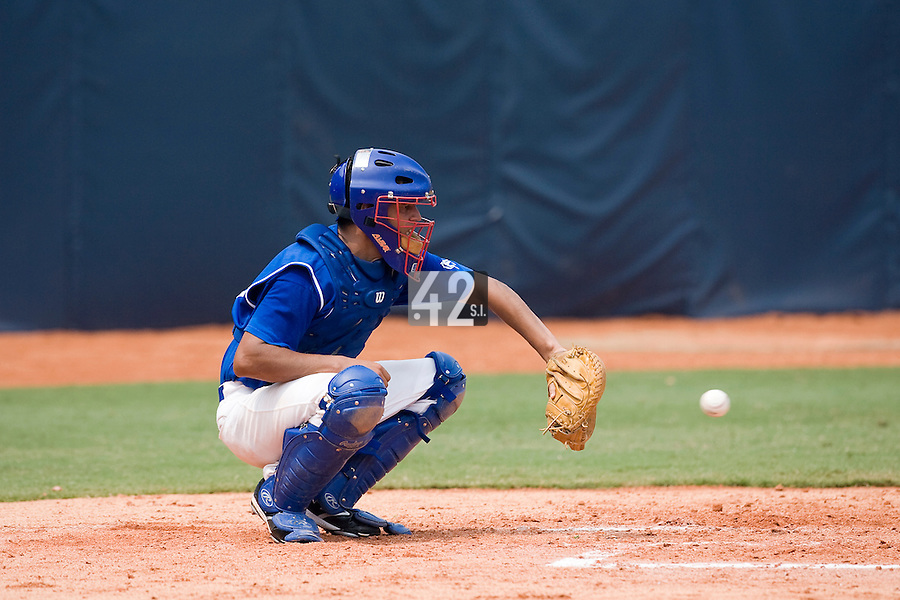 18 August 2007: Catcher #26 Jamel Boutagra warms up during the China 5-1 victory over France in the Good Luck Beijing International baseball tournament (olympic test event) at the Wukesong Baseball Field in Beijing, China.